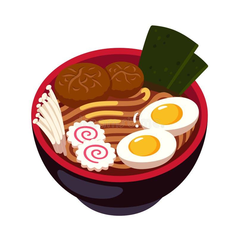 Ramen noodle bowl stock illustration