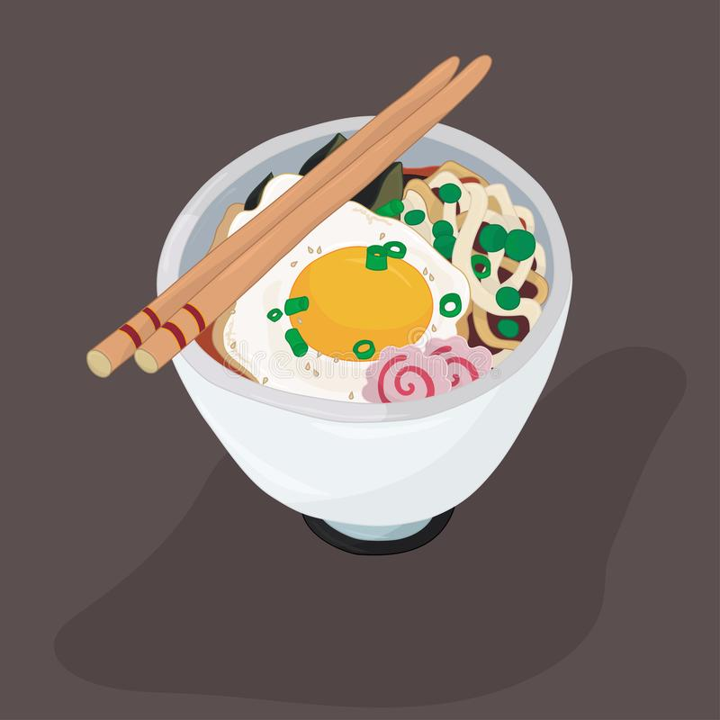 Ramen bowl with egg and fish cakes coloring page royalty free illustration
