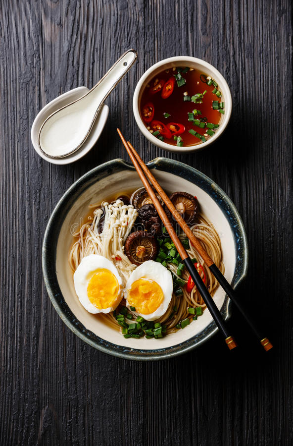 Free Ramen Noodles With Egg And Mushrooms Stock Photos - 85205813
