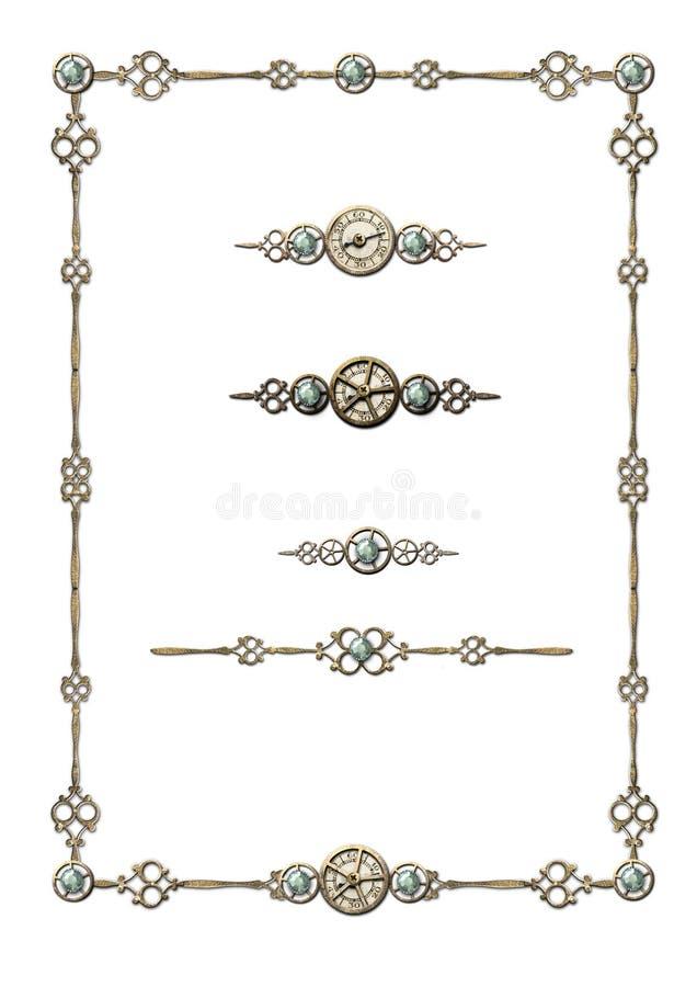 ramen smyckar valsteampunk royaltyfri illustrationer