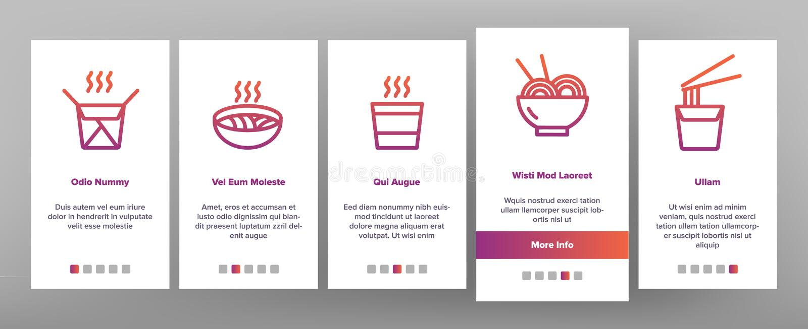 Ramen Spaghetti Food Onboarding Icons Set Vector royalty illustrazione gratis