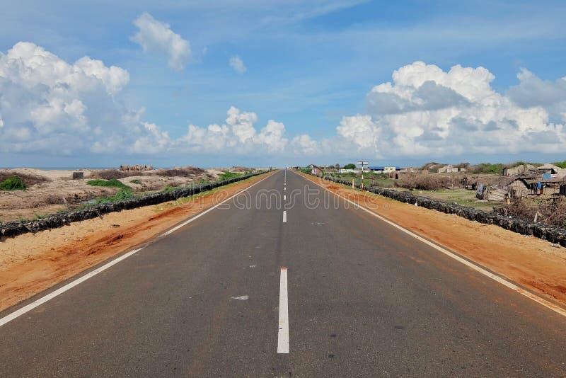 Road to the end of the world, Dhanushkodi village, Rameshwaram, India royalty free stock photos