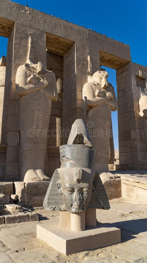The Ramesseum is the memorial temple or mortuary temple of Pharaoh Ramesses II. It is located in the Theban necropolis in Upper. The Ramesseum is the memorial royalty free stock photos