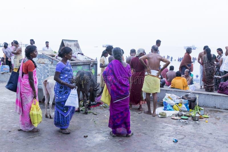 Rameswaram, India - May 25, 2014. Rameswaram, Tamil Nadu, India - May 25, 2014. Full report about Rameswaram pilgrimage, religion Religious city rituals stock image