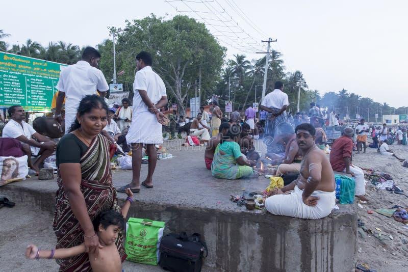 Rameswaram, India - May 25, 2014. Rameswaram, Tamil Nadu, India - May 25, 2014. Full report about Rameswaram pilgrimage, religion Religious city rituals stock photo