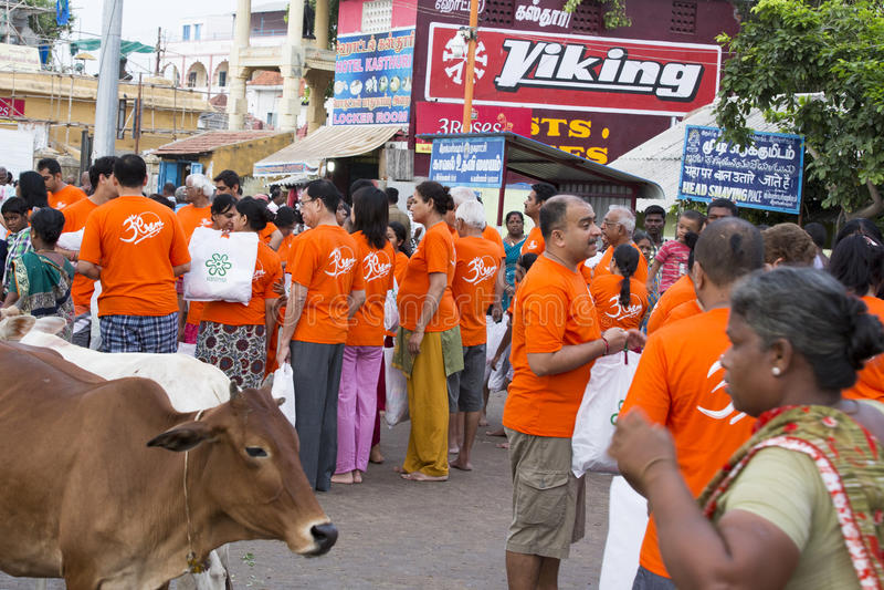 Rameswaram, India - May 25, 2014. Rameswaram, Tamil Nadu, India - May 25, 2014. Full report about Rameswaram pilgrimage, religion Religious city rituals royalty free stock images