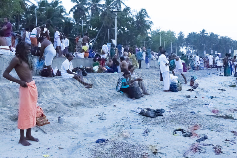 Rameswaram, India - May 25, 2014. Rameswaram, Tamil Nadu, India - May 25, 2014. Full report about Rameswaram pilgrimage, religion. Religious city rituals. Bath royalty free stock photography