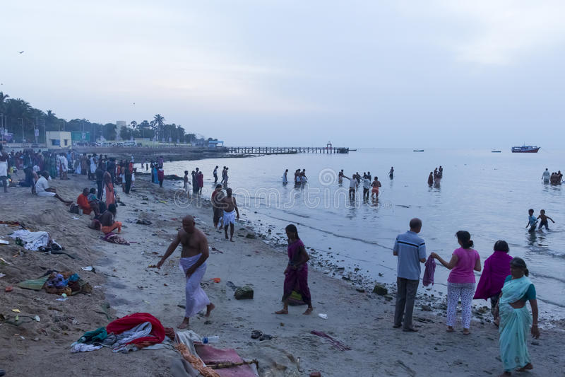 Rameswaram, India - May 25, 2014. Rameswaram, Tamil Nadu, India - May 25, 2014. Full report about Rameswaram pilgrimage, religion. Religious city rituals. Bath royalty free stock images