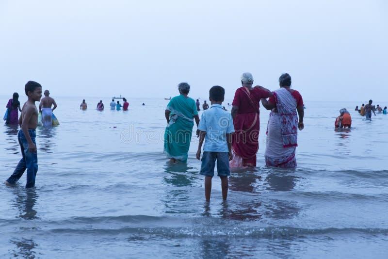 Rameswaram, India - May 25, 2014. Rameswaram, Tamil Nadu, India - May 25, 2014. Full report about Rameswaram pilgrimage, religion. Religious city rituals. Bath stock image