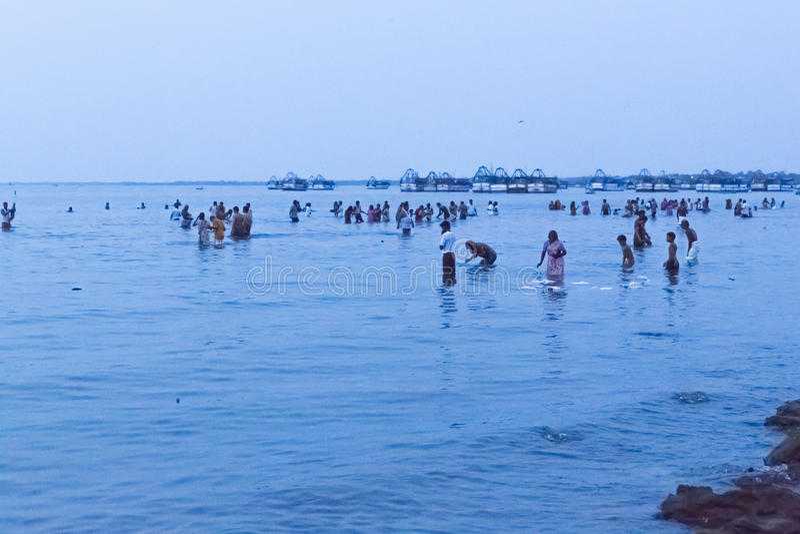 Rameswaram, India - May 25, 2014. Rameswaram, Tamil Nadu, India - May 25, 2014. Full report about Rameswaram pilgrimage, religion. Religious city rituals. Bath stock images