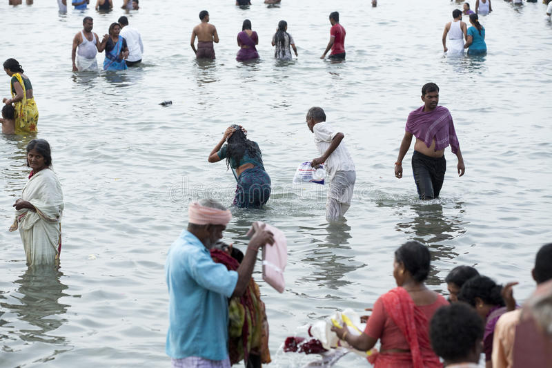 Rameswaram, India - May 25, 2014. Rameswaram, Tamil Nadu, India - May 25, 2014. Full report about Rameswaram pilgrimage, religion. Religious city rituals. Bath royalty free stock image