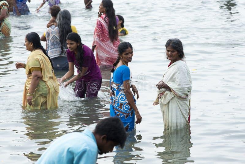 Rameswaram, India - May 25, 2014. Rameswaram, Tamil Nadu, India - May 25, 2014. Full report about Rameswaram pilgrimage, religion. Religious city rituals. Bath stock photography