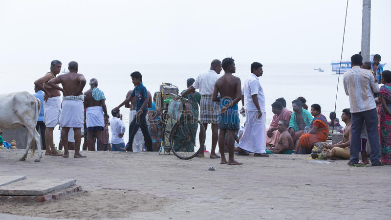 Rameswaram, India - May 25, 2014. Rameswaram, Tamil Nadu, India - May 25, 2014. Full report about Rameswaram pilgrimage, religion. Religious city rituals. Life royalty free stock photography