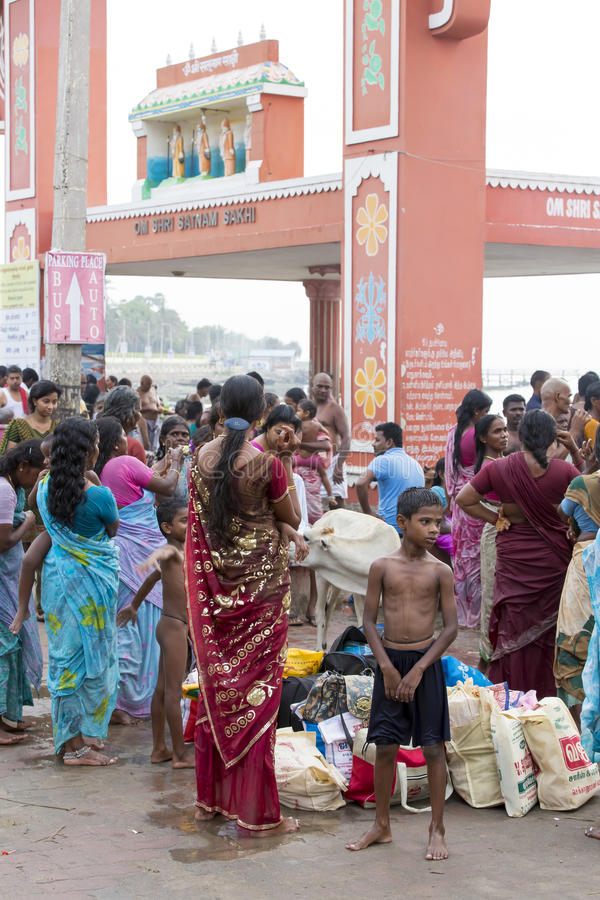 Rameswaram, India - May 25, 2014. Rameswaram, Tamil Nadu, India - May 25, 2014. Full report about Rameswaram pilgrimage, religion. Religious city rituals. Life stock image