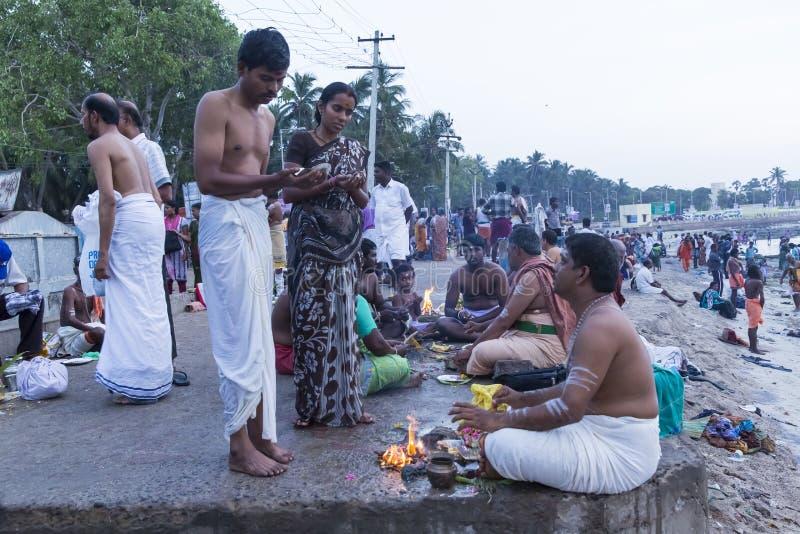 Rameswaram, India - May 25, 2014. Rameswaram, Tamil Nadu, India - May 25, 2014. Full report about Rameswaram pilgrimage, religion. Religious city rituals. Priest stock photography