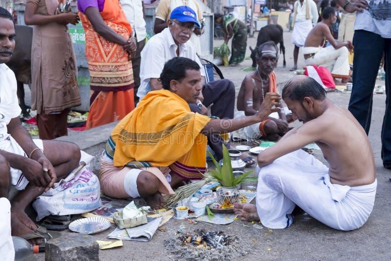 Rameswaram, India - May 25, 2014. Rameswaram, Tamil Nadu, India - May 25, 2014. Full report about Rameswaram pilgrimage, religion. Religious city rituals. Priest stock image