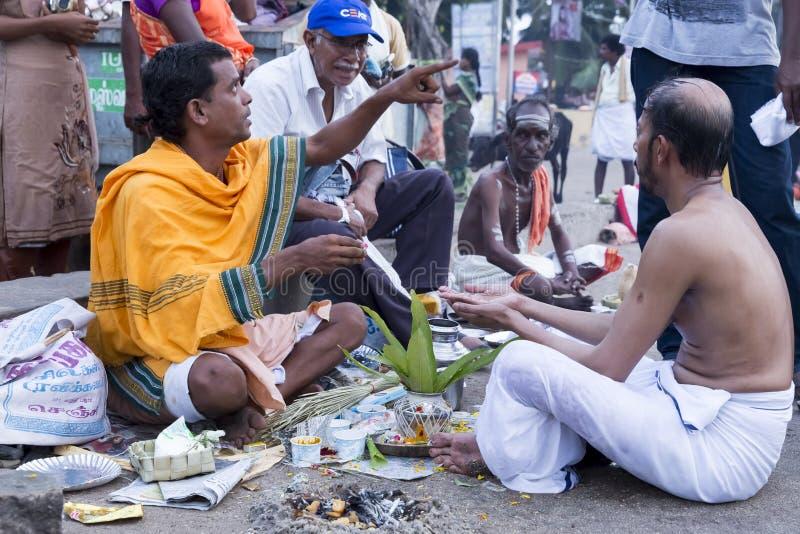 Rameswaram, India - May 25, 2014. Rameswaram, Tamil Nadu, India - May 25, 2014. Full report about Rameswaram pilgrimage, religion. Religious city rituals. Priest stock images
