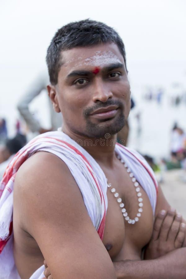 Rameswaram, India - May 25, 2014. Rameswaram, Tamil Nadu, India - May 25, 2014. Full report about Rameswaram pilgrimage, religion. Religious city rituals. Priest stock photo