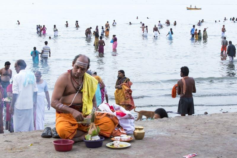 Rameswaram, India - May 25, 2014. Rameswaram, Tamil Nadu, India - May 25, 2014. Full report about Rameswaram pilgrimage, religion. Religious city rituals. Priest stock photos