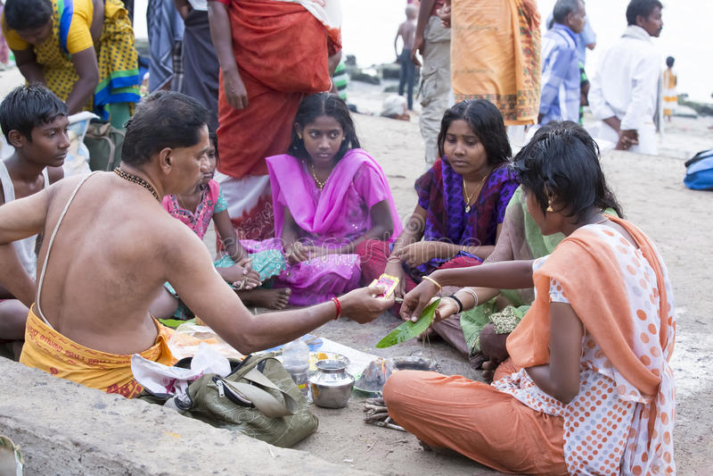Rameswaram, India - May 25, 2014. Rameswaram, Tamil Nadu, India - May 25, 2014. Full report about Rameswaram pilgrimage, religion. Religious city rituals. Priest royalty free stock image