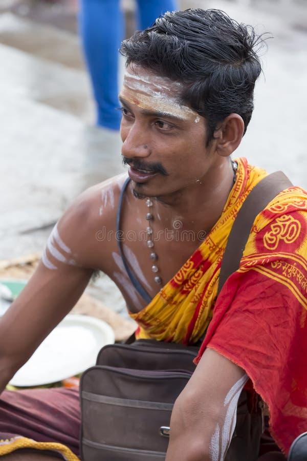 Rameswaram, India - May 25, 2014. Rameswaram, Tamil Nadu, India - May 25, 2014. Full report about Rameswaram pilgrimage, religion. Religious city rituals. Priest royalty free stock photo