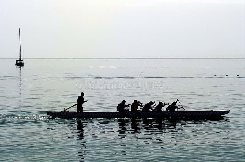 Rameurs sur la mer calme photo libre de droits