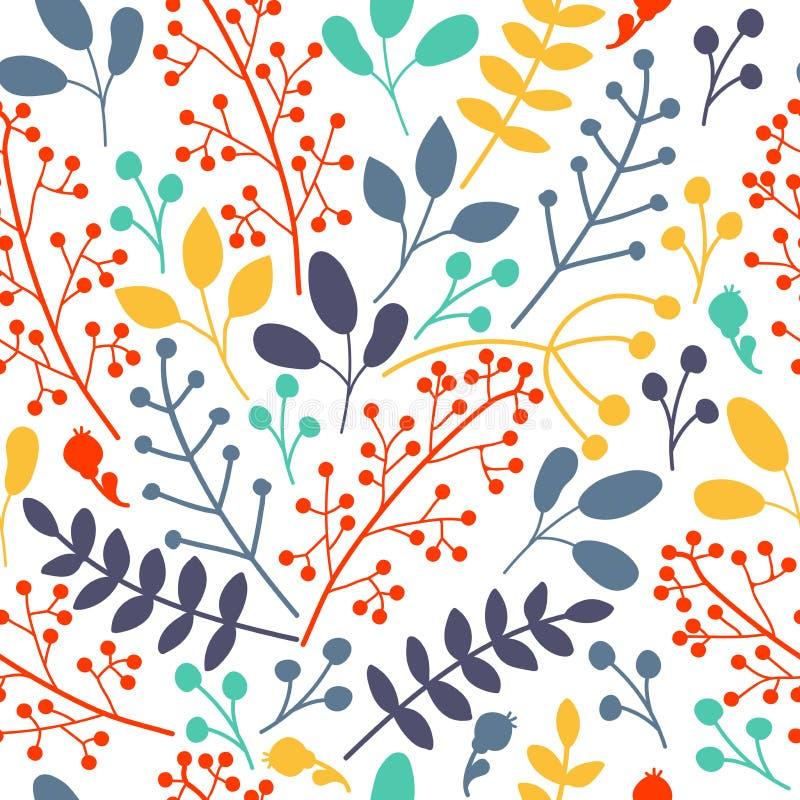 Rami, bacche e foglie fertili disegnati a mano su fondo bianco, illustrazione senza cuciture Modello floreale di vettore nello st royalty illustrazione gratis