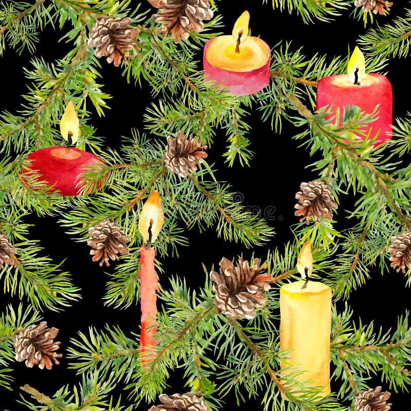 Rami dell'albero di Natale, ramoscelli attillati, candele brucianti Ripetizione del reticolo fotografia stock