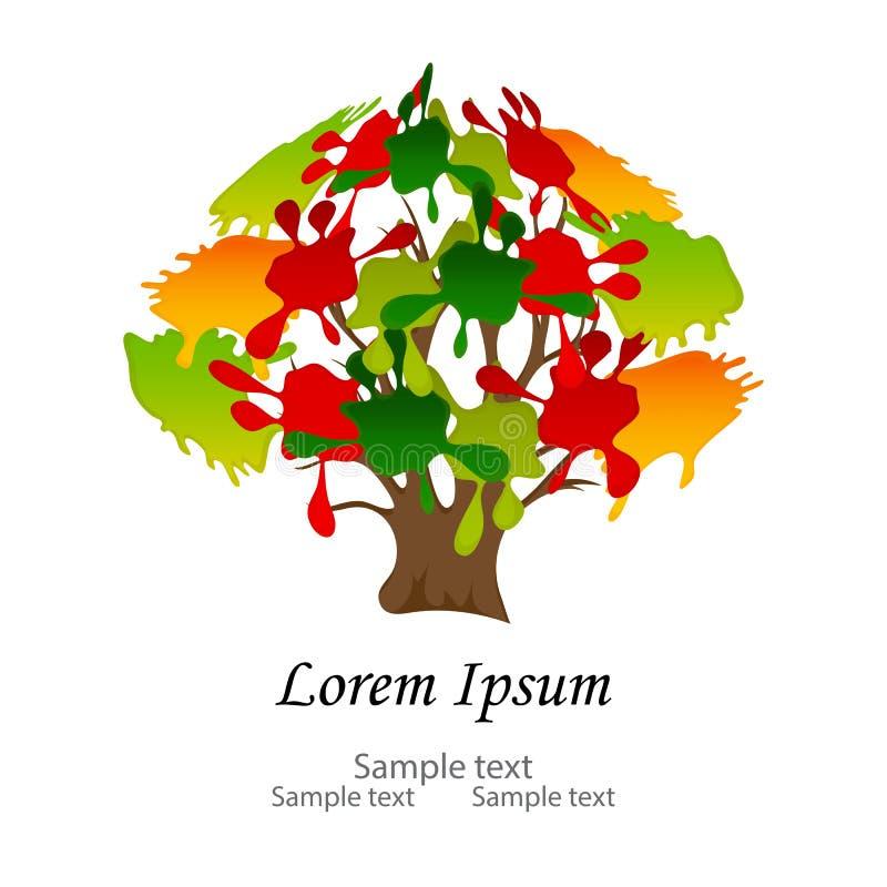 Rami di albero variopinti astratti con le foglie multicolori, spruzzata illustrazione vettoriale