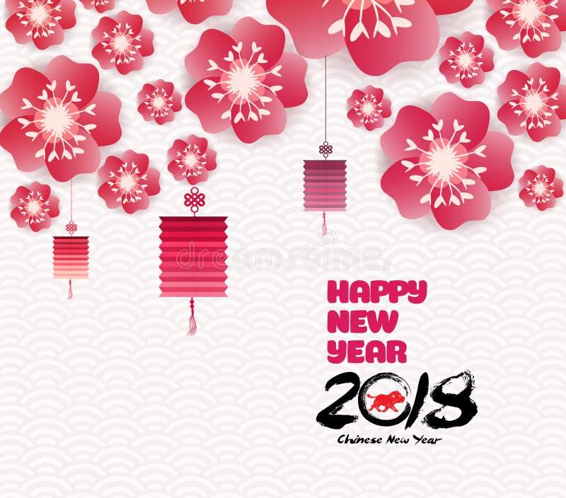 Rami di fioritura di sakura del fondo cinese del nuovo anno illustrazione vettoriale