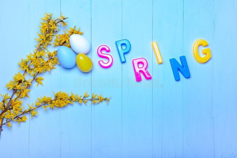 Rami di forsythia su legno con le lettere e le uova di Pasqua immagine stock libera da diritti