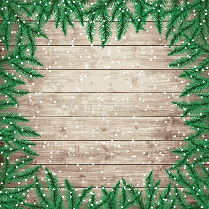 Rami e fiocchi di neve di albero dell'abete sul bordo di legno illustrazione vettoriale
