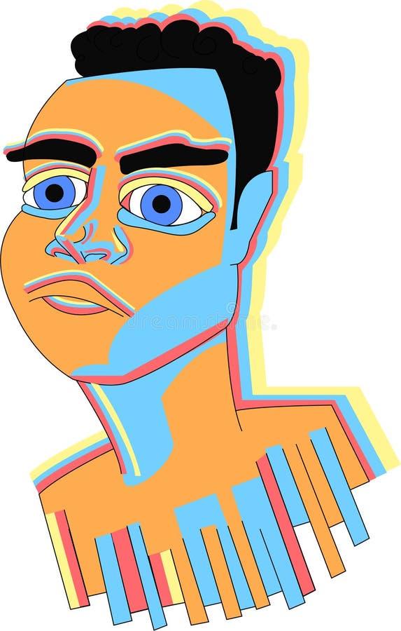 Rami Malek color face stock illustration