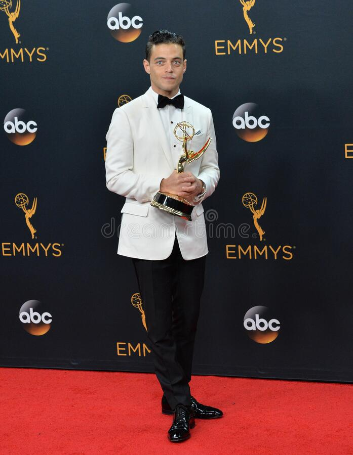 Rami Malek. LOS ANGELES, CA. September 18, 2016: Actor Rami Malek at the 68th Primetime Emmy Awards at the Microsoft Theatre L.A. Live stock photography