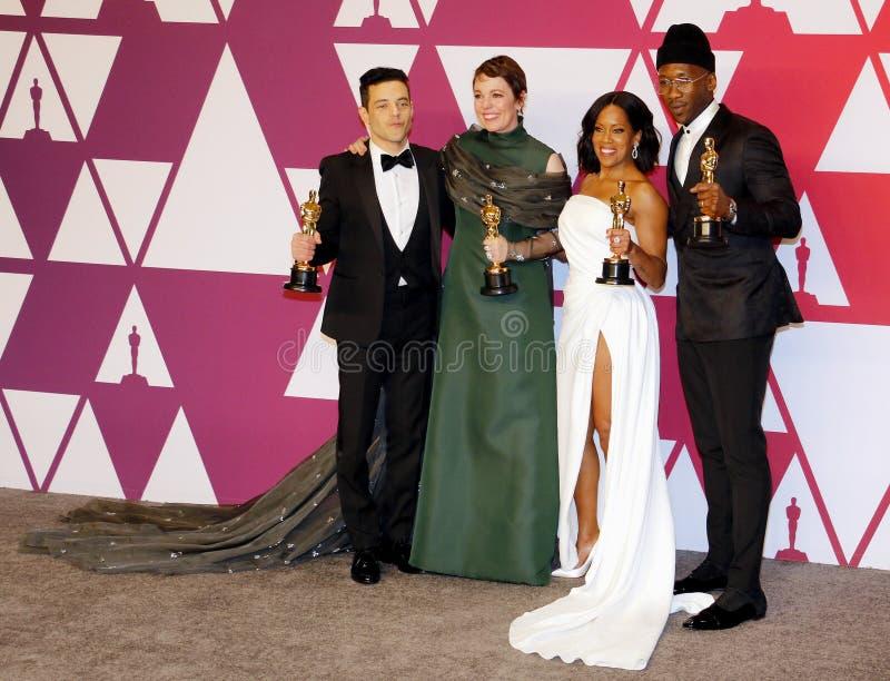 Rami Malek, Olivia Colman, Regina King e Mahershala Ali imagens de stock
