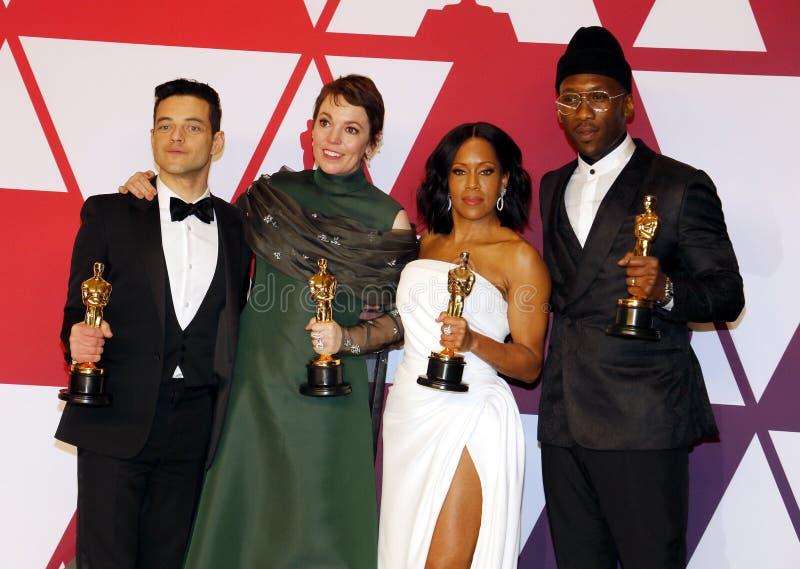 Rami Malek, Olivia Colman, Regina King en Mahershala Ali stock afbeelding