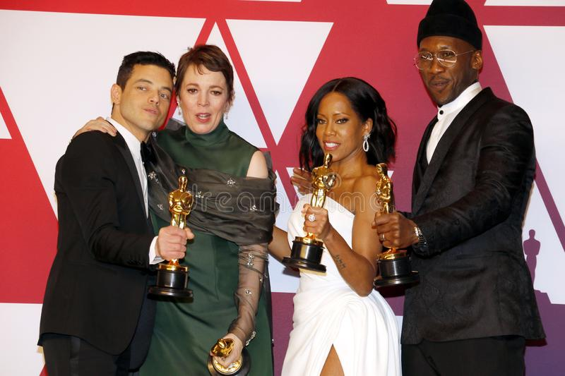 Rami Malek, Olivia Colman, Regina King and Mahershala Ali. At the 91st Annual Academy Awards - Winners Room held at the Hollywood and Highland in Los Angeles stock photos