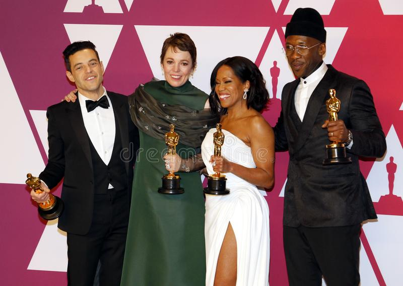 Rami Malek, Olivia Colman, Regina King and Mahershala Ali. At the 91st Annual Academy Awards - Winners Room held at the Hollywood and Highland in Los Angeles stock images