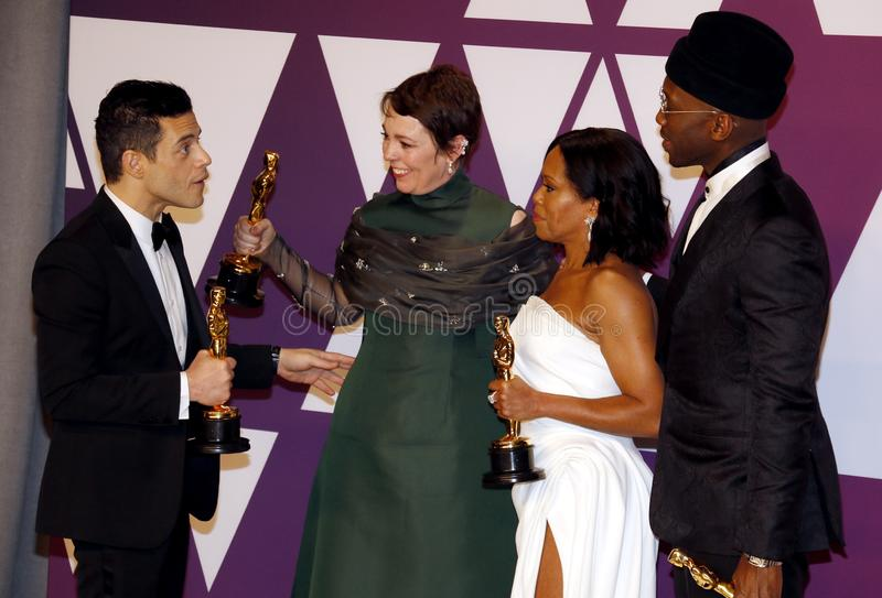 Rami Malek, Olivia Colman, Regina King and Mahershala Ali. At the 91st Annual Academy Awards - Winners Room held at the Hollywood and Highland in Los Angeles royalty free stock photos