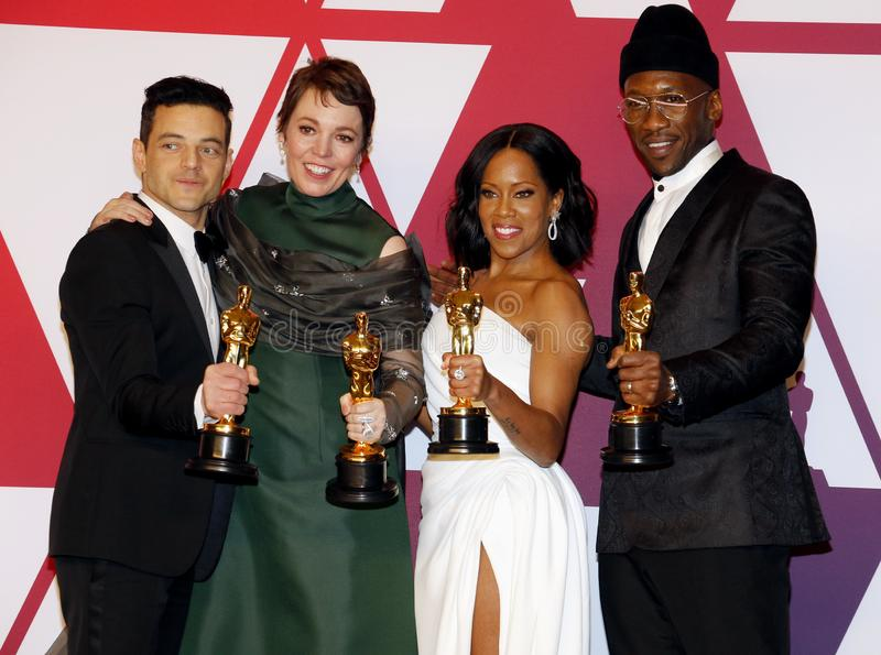 Rami Malek, Olivia Colman, Regina King and Mahershala Ali. At the 91st Annual Academy Awards - Winners Room held at the Hollywood and Highland in Los Angeles royalty free stock photo