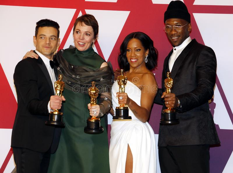 Rami Malek, Olivia Colman, Regina King and Mahershala Ali. At the 91st Annual Academy Awards - Winners Room held at the Hollywood and Highland in Los Angeles royalty free stock images