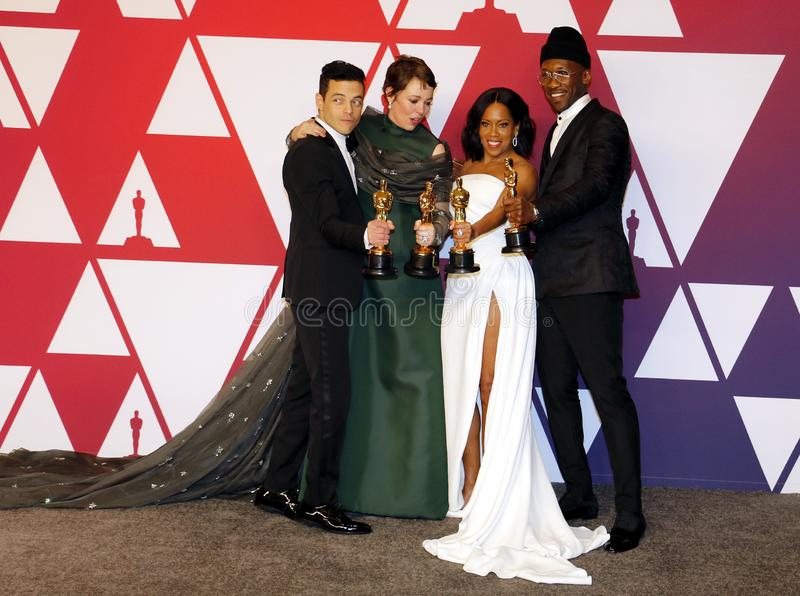 Rami Malek, Olivia Colman, Regina King, Mahershala Ali. Rami Malek, Olivia Colman, Regina King and Mahershala Ali at the 91st Annual Academy Awards - Winners royalty free stock photos
