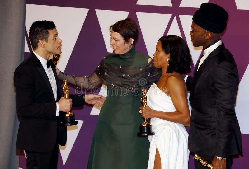 Rami Malek, Olivia Colman, Regina King and Mahershala Ali. At the 91st Annual Academy Awards - Press Room held at the Loews Hotel in Hollywood, USA on February stock photos