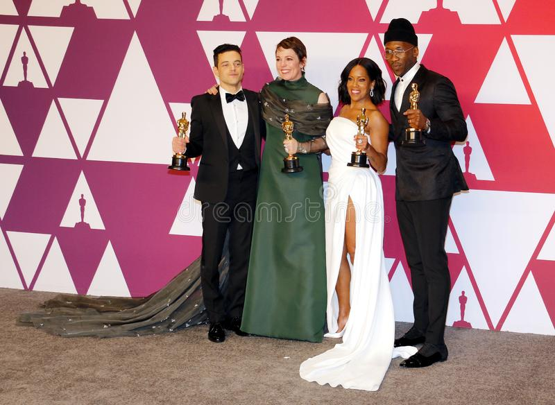Rami Malek, Olivia Colman, Regina King and Mahershala Ali. At the 91st Annual Academy Awards - Press Room held at the Loews Hotel in Hollywood, USA on February royalty free stock images