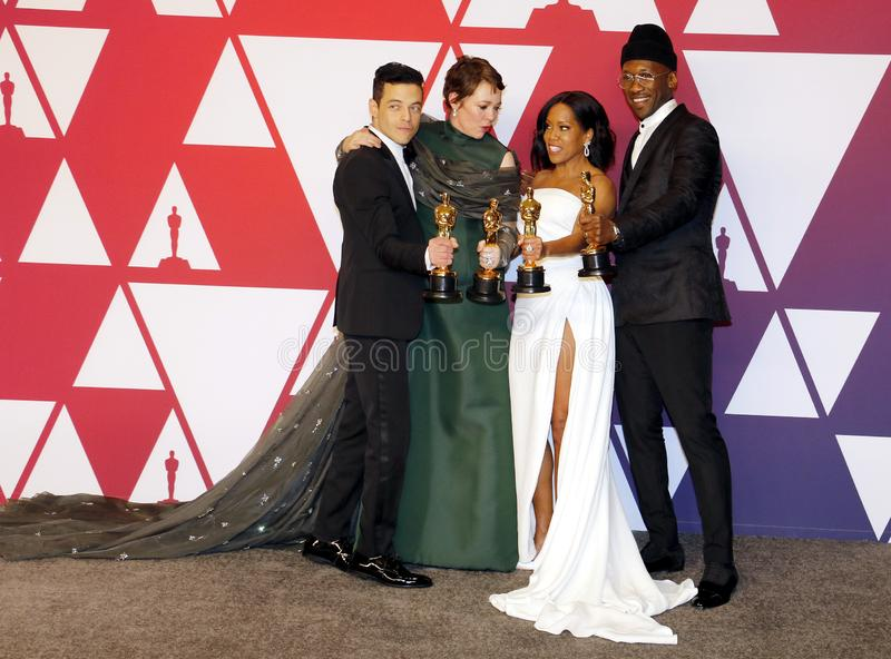 Rami Malek, Olivia Colman, Regina King and Mahershala Ali. At the 91st Annual Academy Awards - Press Room held at the Loews Hotel in Hollywood, USA on February royalty free stock photos