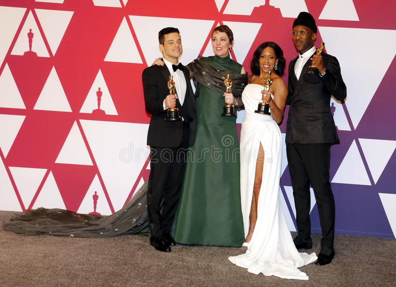 Rami Malek, Olivia Colman, Regina King and Mahershala Ali. At the 91st Annual Academy Awards - Press Room held at the Loews Hotel in Hollywood, USA on February stock images