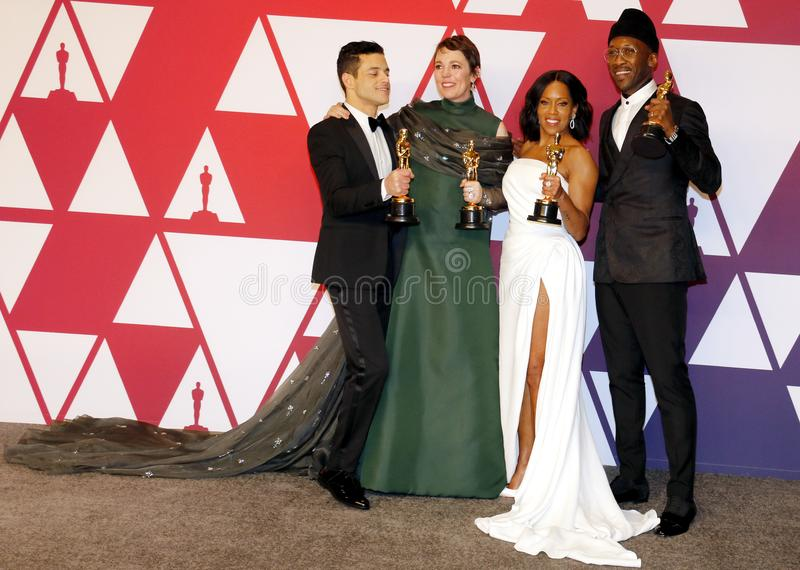 Rami Malek, Olivia Colman, Regina King and Mahershala Ali. At the 91st Annual Academy Awards - Press Room held at the Loews Hotel in Hollywood, USA on February royalty free stock photography