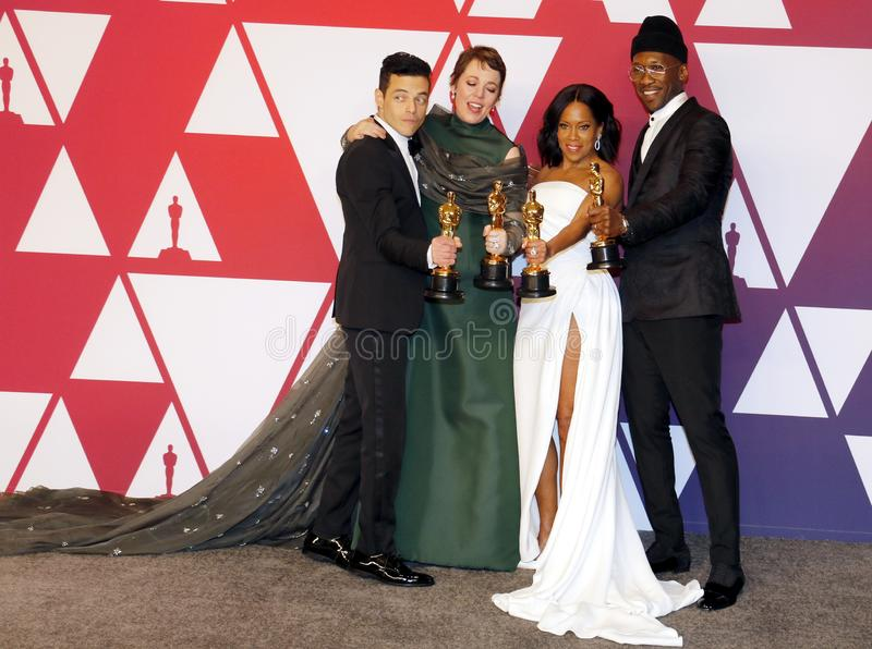 Rami Malek, Olivia Colman, Regina King and Mahershala Ali. At the 91st Annual Academy Awards - Press Room held at the Loews Hotel in Hollywood, USA on February stock image