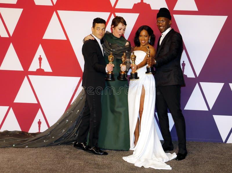 Rami Malek, Olivia Colman, Regina King och Mahershala Ali royaltyfri foto