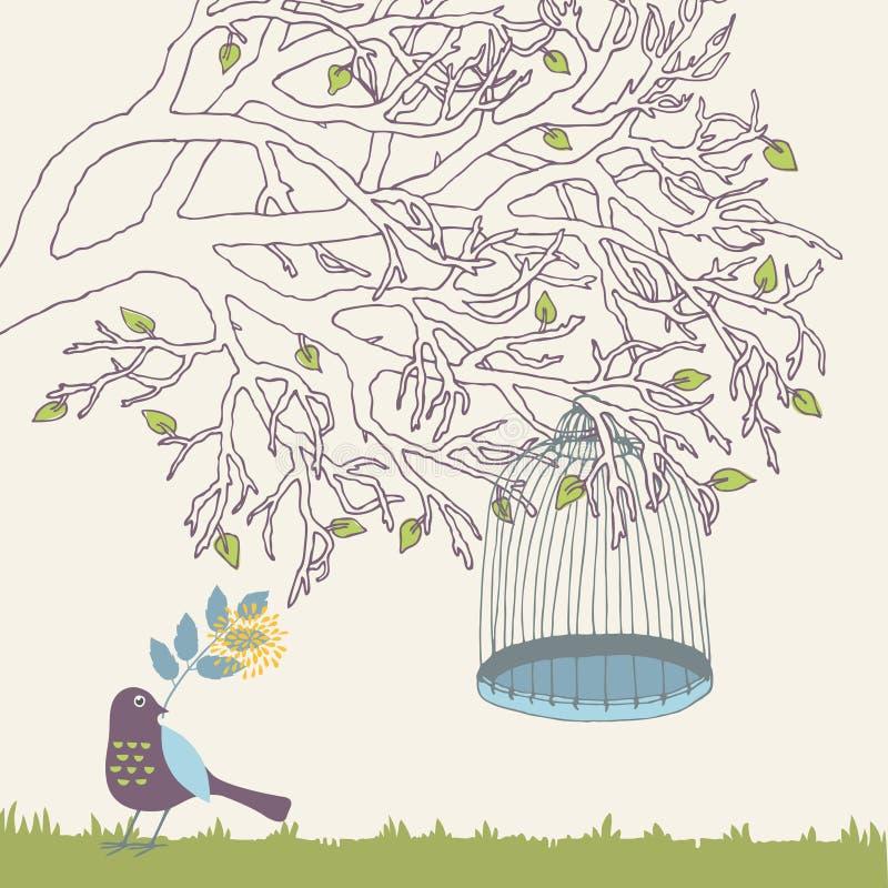 Ramificación de árbol y jaula de pájaro ilustración del vector